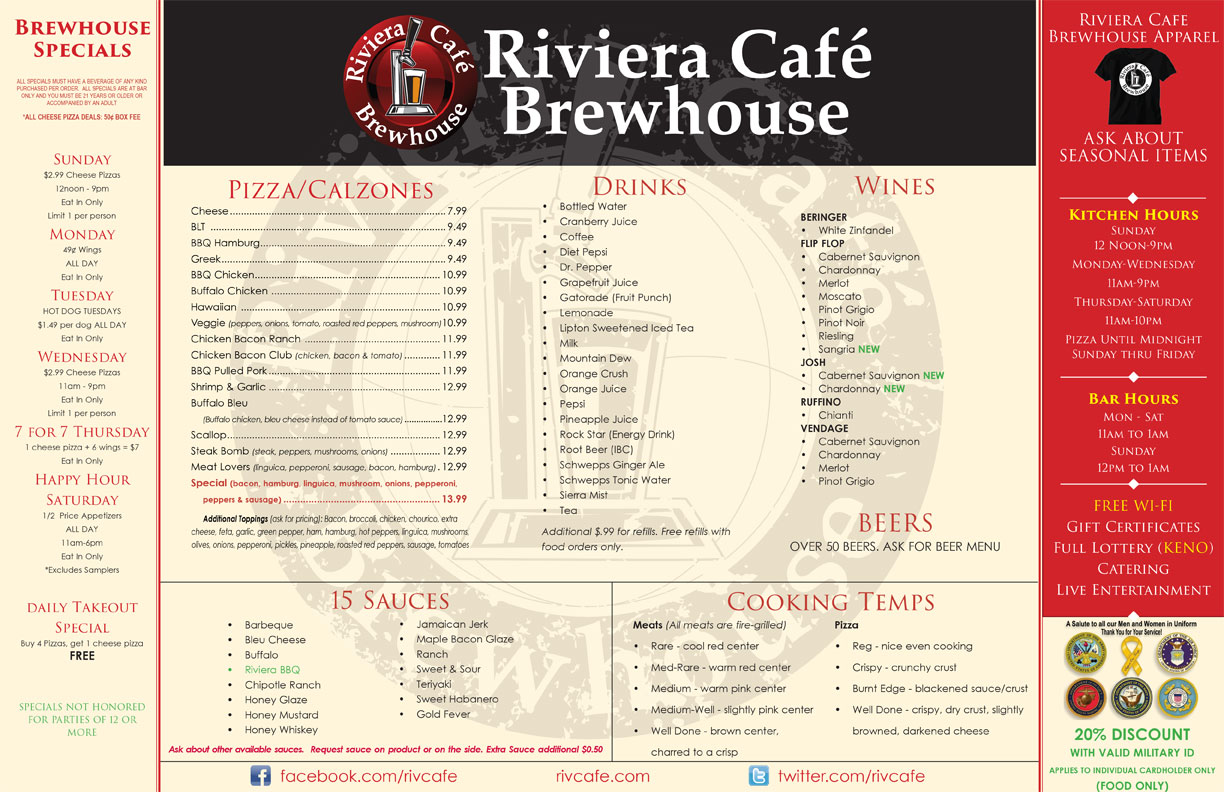 Menu - The Riv Cafe Brewhouse